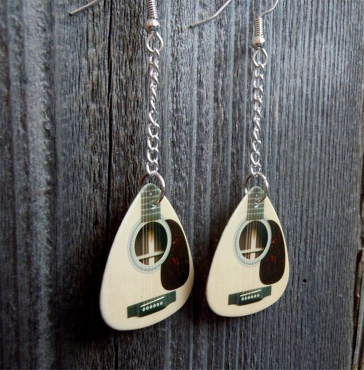 Dangling Acoustic Guitar Pick Earrings by ItsYourPick on Etsy