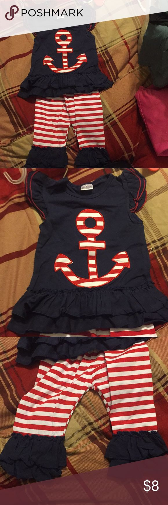 Anchor outfit Toddler size small summer outfit Matching Sets