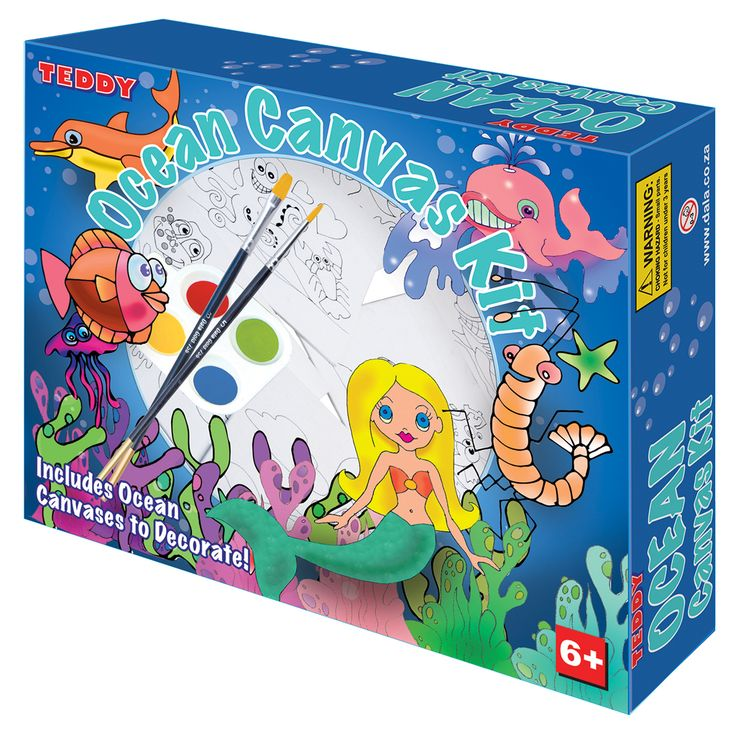 Ocean Canvas Box Kit:  Go under the sea with our Ocean themed canvas painting kit.