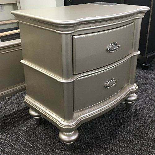 Antique Silver Glam Two Drawers Bedroom Nightstand