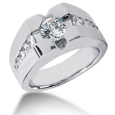 Platinum Men S Diamond Ring 1 72ct Men Diamond Ring White Diamond Rings Diamond Solitaire Rings
