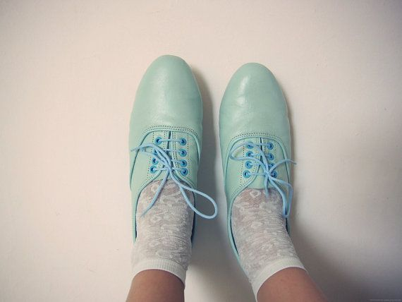 loveBaby Blue, Green Shoes, Mint Green, Fashion Vintage, Oxfords Shoes, Blue Shoes, Pastel Colors, Handmade Leather, Oxfords Flats