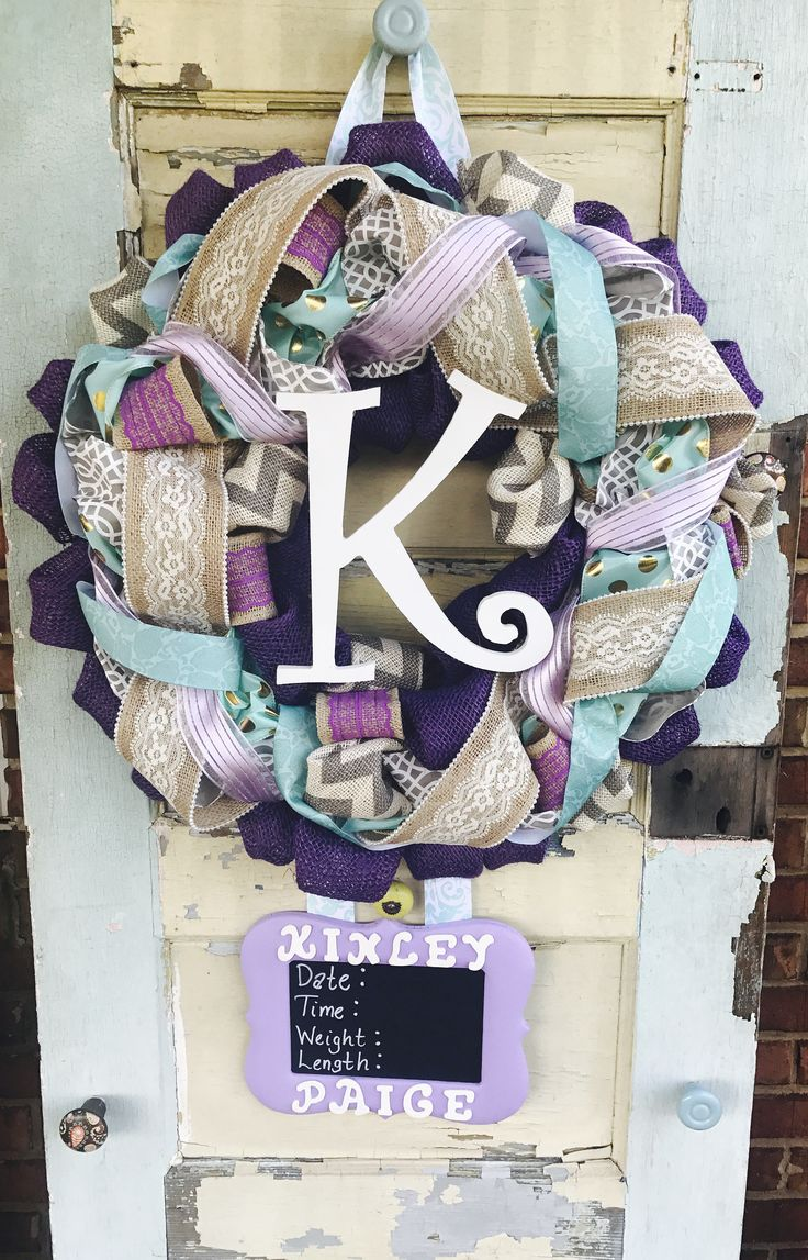 Baby Girl Purpl/Teal Hospital Door Wreath by East2Nest on Etsy