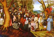 A LandScape With Saint John The Baptist Preaching  by Pieter The Younger Brueghel
