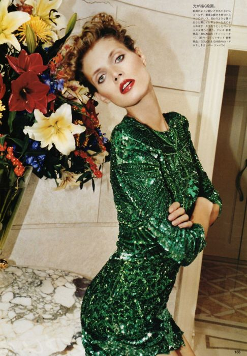 Black tights green sequin dress