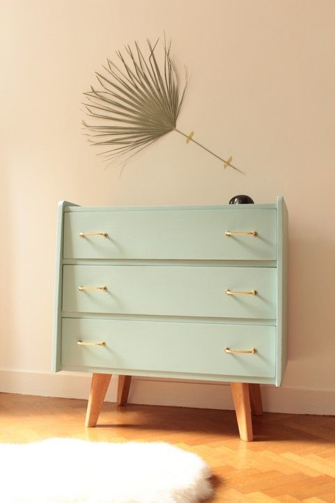 Image of Commode vintage années 50 Bleue