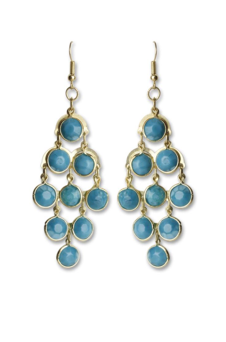 Turquoise Chandelier Earrings @ www.juvalia.in