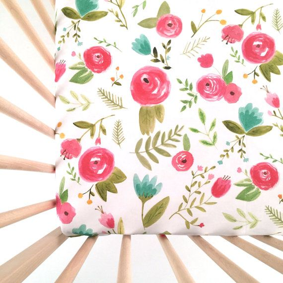 Crib Sheet Happy Floral. Fitted Crib Sheet. Baby by iviebaby