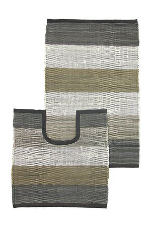 """This chindi 2 piece bath mat set has been hand-woven in lines with 100% cotton to create a stripe design and a textured tonal finish. Includes a bath mat and pedestal mat.<div class=""""pdpDescContent""""><BR /><b class=""""pdpDesc"""">Dimensions:</b><BR />L80xW50 cm<BR /><BR /><b class=""""pdpDesc"""">Fabric Content:</b><BR />100% Cotton<BR /><BR /><b class=""""pdpDesc"""">Wash Care:</b><BR>Gentle cycle cold wash</div>"""