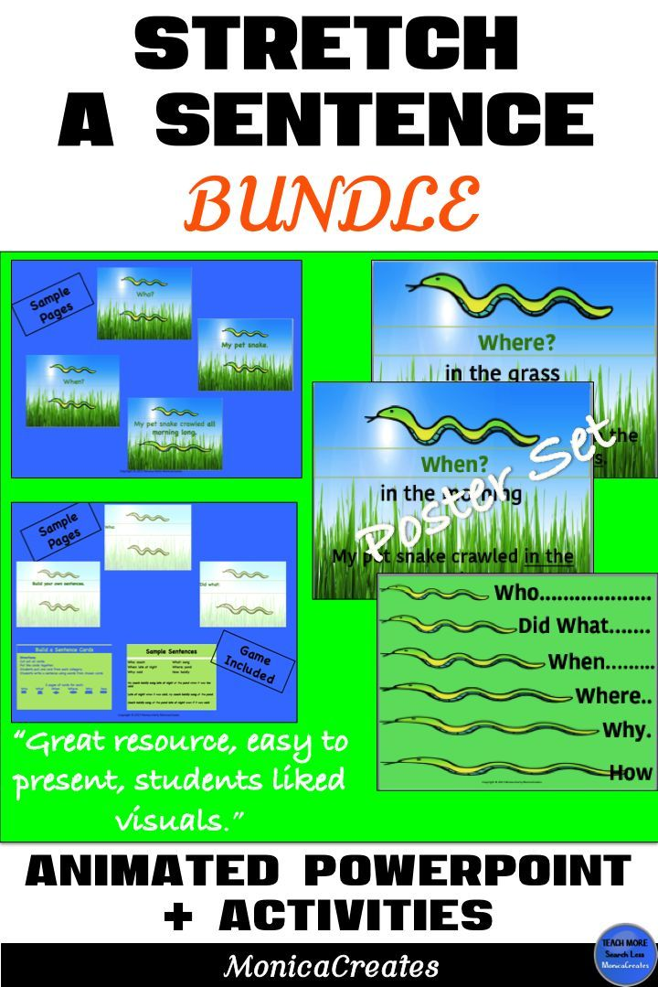 S-T-R-E-T-C-H your students writing skills with this animated PowerPoint Lesson Plan Bundle full of Activities, Posters/Anchor Charts and more! CCSS. Grades 1st, 2nd, 3rd. #teachingwriting #elementaryteacher #descriptivesentences #descriptivewriting #elementary #lessonplan