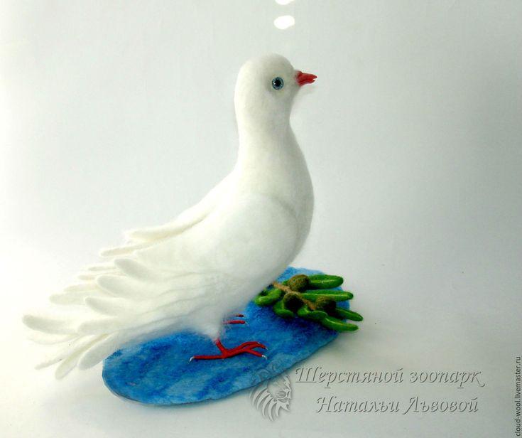 Купить Голубь Мира / голубь с оливковой ветвью / сухое валяние из шерсти - голубь