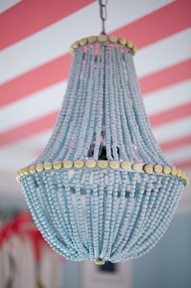 Wired fruit basket + beads = COOL CHANDELIER! 2011 Kid's Room Contest winner - The Washington Post: Little Girls, Lights Fixtures, Colors Rooms, Blue Chand, Lights Fit, Girls Bedrooms Chand, Girls Rooms, Beads Chand, Kids Rooms