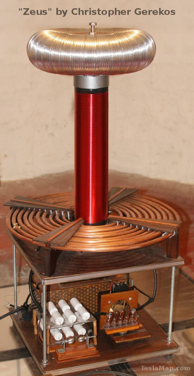Typical construction of a Tesla Coil