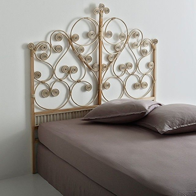 Tio rattan headboard. The Tio headboard creates an exotic mood with scrolls and arabesque motifs. Available in two widths.Description: Position the headboard between a wall and an upholstered bed base or bed frame.  Features: Woven rattan, natural or white/blue stain.Acacia mounts finished with nitrocellulose varnish.   See other items from the Tio collection online.Size: Overall size: Double: L157 x H165 x D4cm. King size: L177 x H165 x D4cm.   Parcel size and weight: Double: 1 pa...
