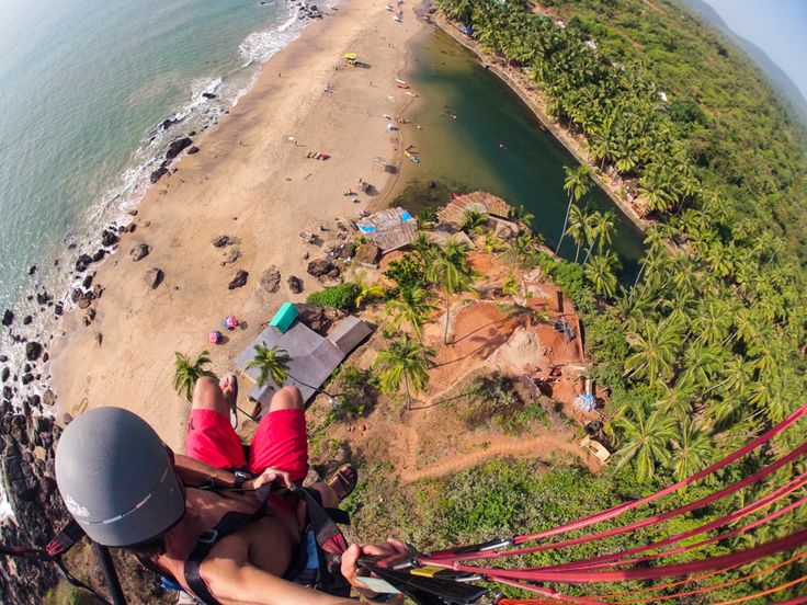 Paragliding above the Blue Lagoon in South Goa