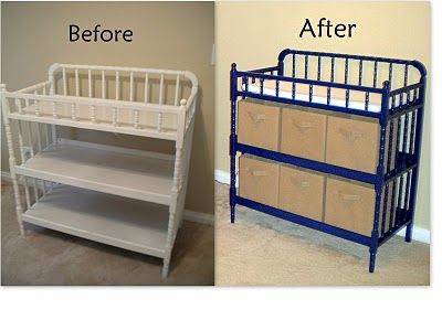 navy blue painted changing table - boy nursery