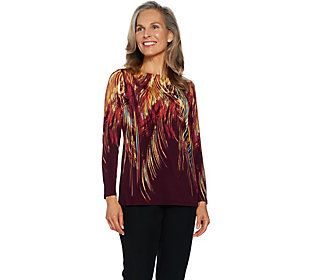 Susan Graver Printed Liquid Knit Long Sleeve Top