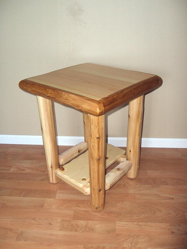 Log end table nightstand w shelf furniture rustic