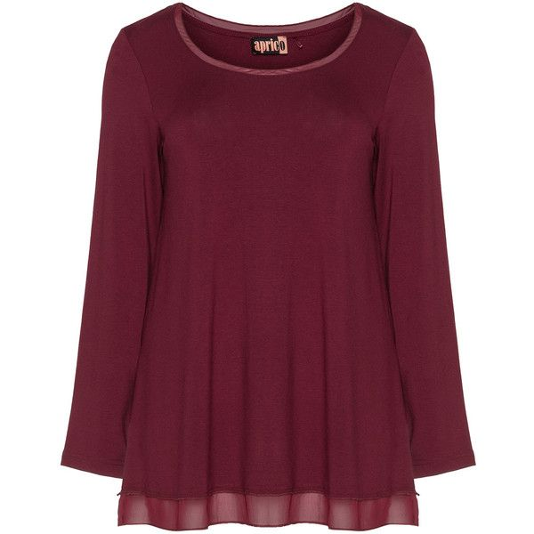 Aprico Bordeaux-Red Plus Size Long sleeve chiffon trim top ($54) ❤ liked on Polyvore featuring tops, plus size, plus size tops, womens plus tops, purple top, red top and women plus size tops