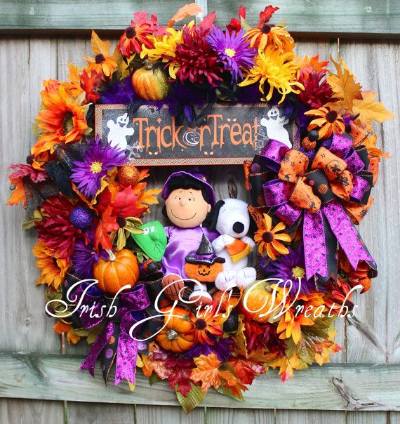 XL Peanuts Halloween Lucy and Snoopy Wreath by IrishGirlsWreaths, $179.99