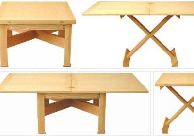 One setup; five tables. That's what Lee Sinclair's Convertable offers, going from coffee table to occasional table to games table to large dining table for six to a drawing board/drafting table.