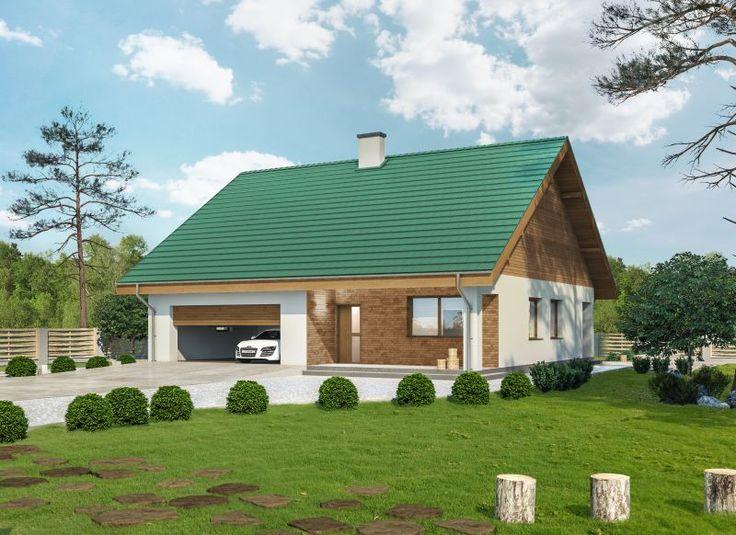 Jak dobrać kolor elewacji do rodzaju pokrycia dachowego? Wizualizacja elewacji projektu Miarodajny - Budowa - Muratordom.pl