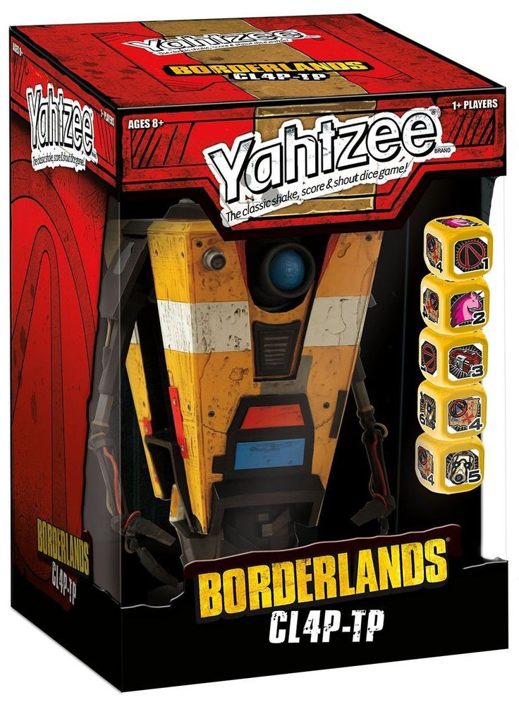 This item can only be shipped to North America - No exceptions! Borderlands' favorite general purpose robot is ready to play Yahtzee! Play the classic game of Yahtzee with your very own custom Clap Tr