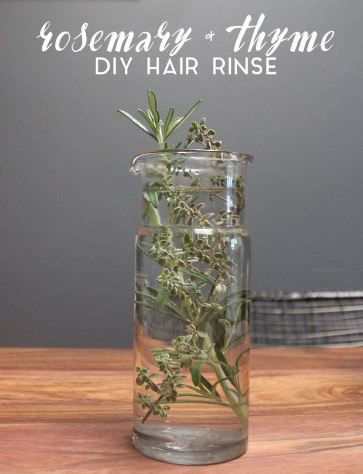 Combine 1 TBSP of dried rosemary or a few sprigs of fresh rosemary to a large glass. Add 1 TBSP of dried or fresh thyme. Boil 2 cups of water and pour into glass. Let the solution sit for up to 1 hour, steeping the herbs in the water to create the rinse. Then strain and apply to hair after shampooing. Do not rinse out. After multiple rinses you will start to see results.