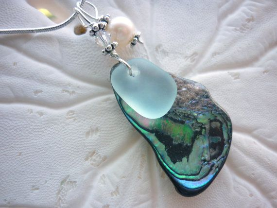 Sea Glass Necklace   Abalone Sea Shell Beach by TheMysticMermaid, $28.00