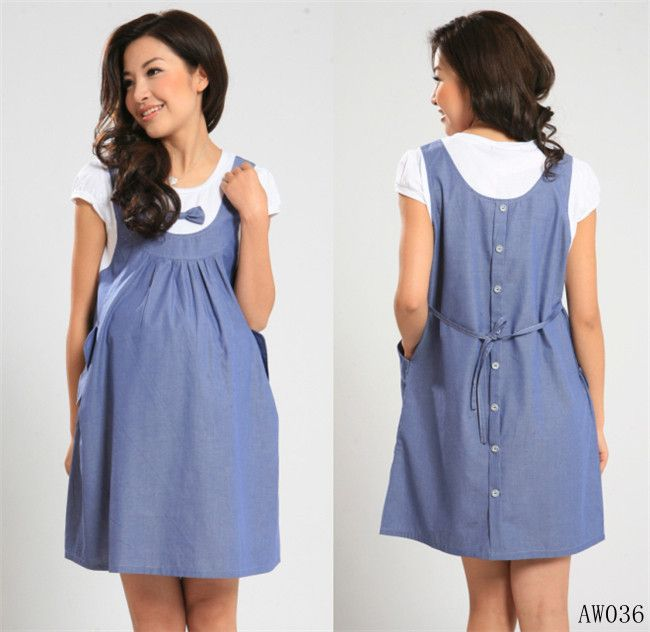 2013 summer maternity dress 2 piece set maternity one-piece dress pregnancy denim clothing bow clothes for pregnant women US $19.80