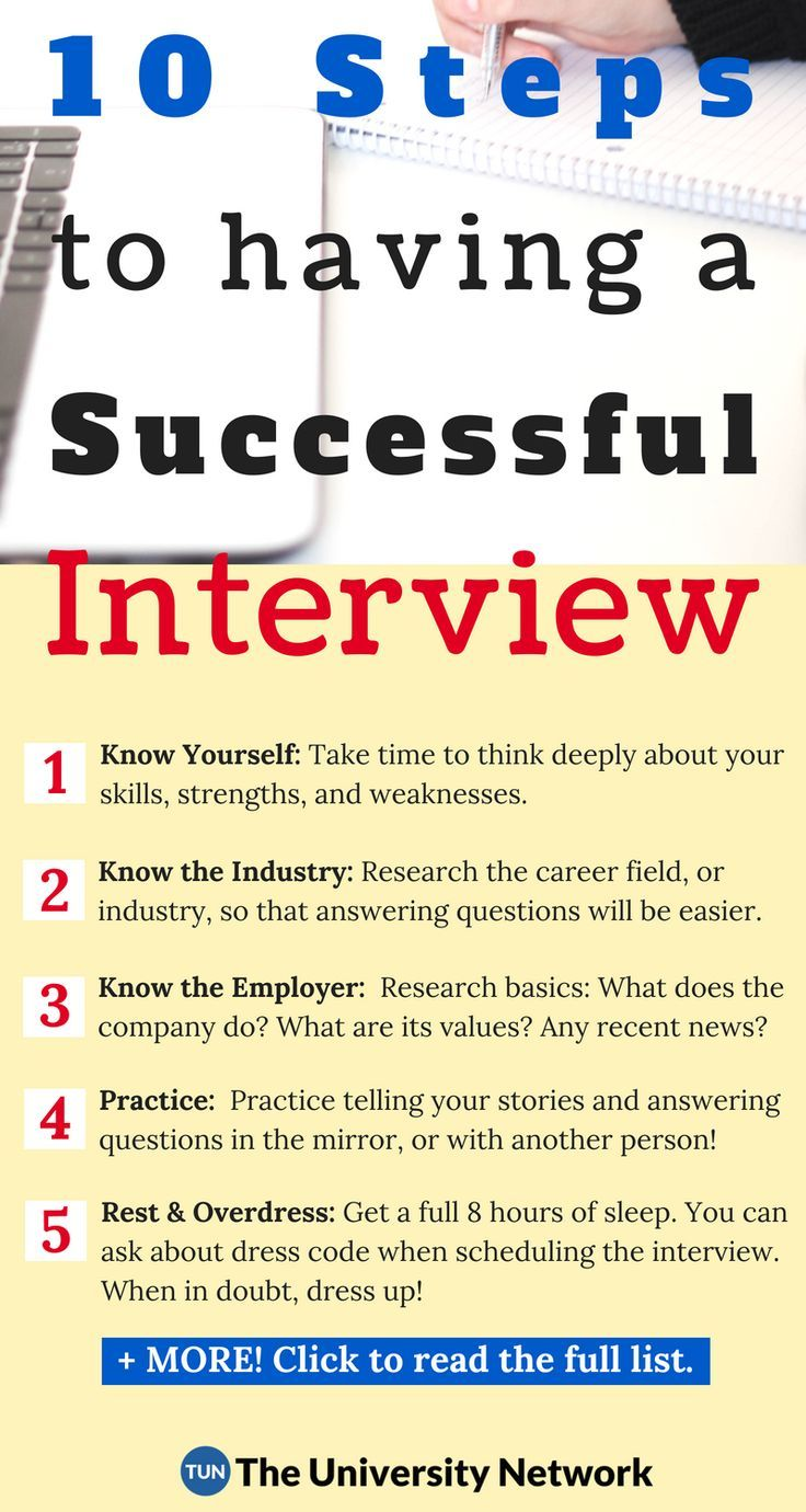 10 Steps To A Successful Interview The University Network Interview Advice Online Education Job Interview Advice
