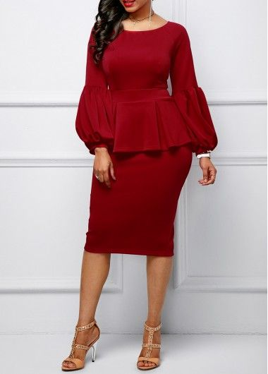 Back Slit Peplum Waist Lantern Sleeve Dress | Rosewe.com - USD $29.94
