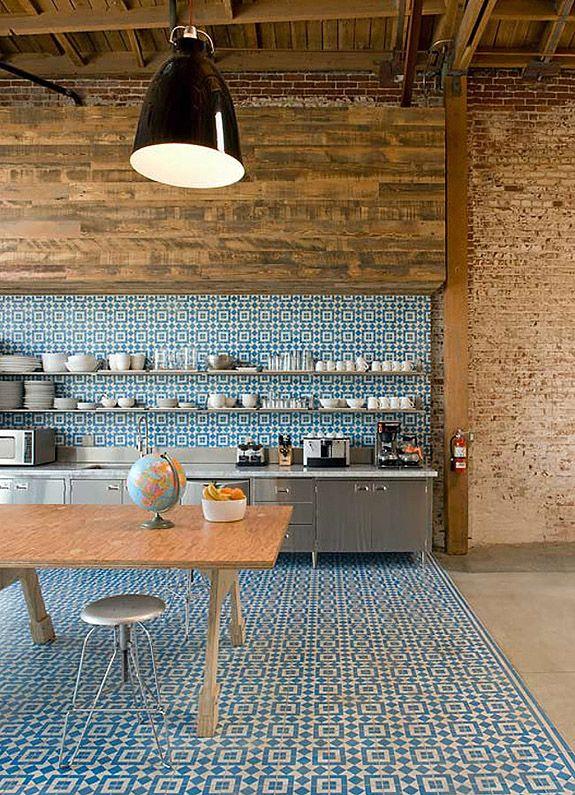 floor to wall cement tiles, bricks, wood