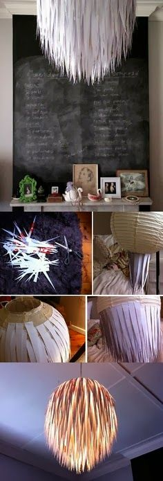 DIY lamp - Good to use the rice paper lamp shape, esp the One which is damaged and mended with this multiple strips !!!