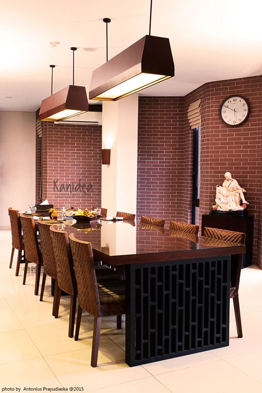 dining area #privatearea #dining #warm #bricks #wood #rattan #lasercutting