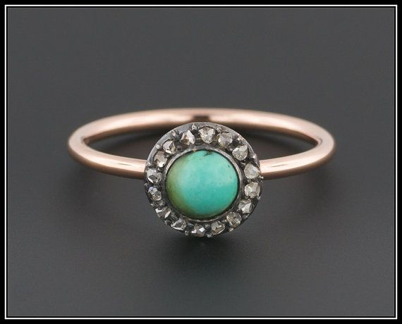 14k Gold Turquoise & Diamond Ring  Antique by TrademarkAntiques
