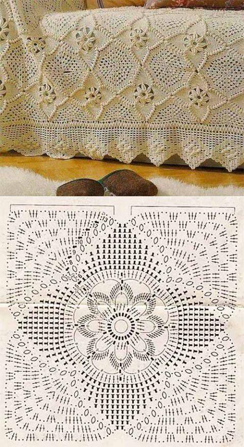 Colcha de Crochê Com Maravilhosos Quadrados Rosas -  /   Bedspread In Crocheted With Marvellous Squares Roses -