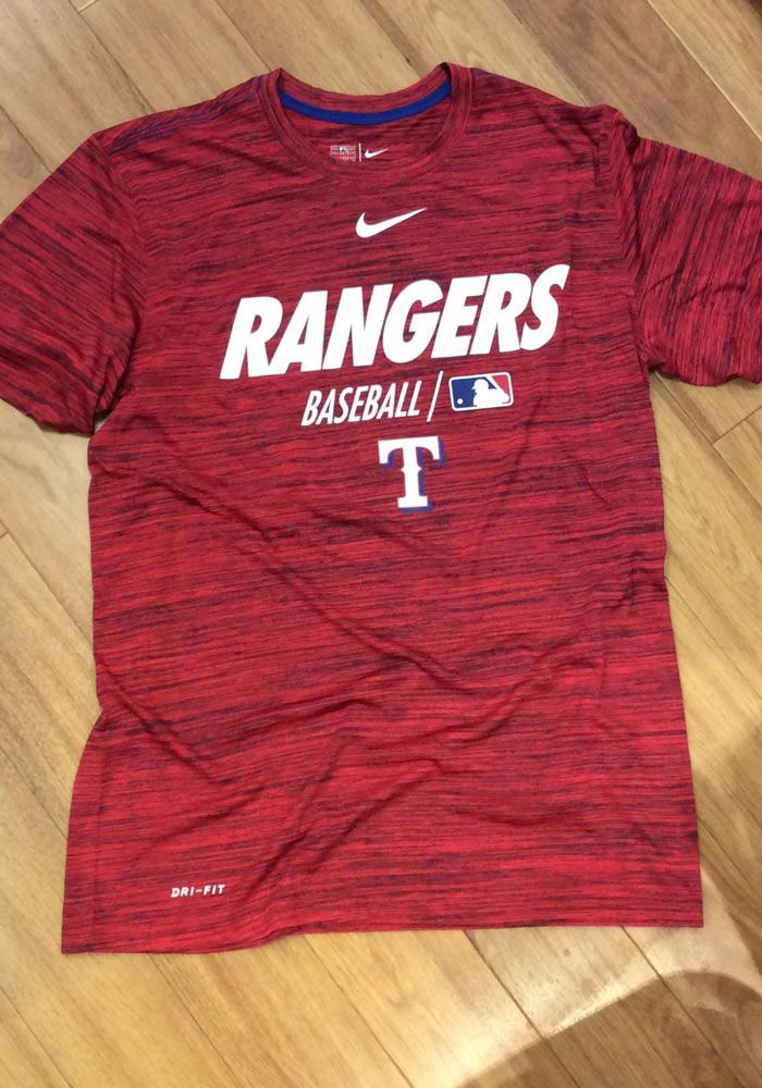 new products 735e3 813cb Nike Texas Rangers Red AC Velocity Team Issue Short Sleeve T Shirt -  125101434