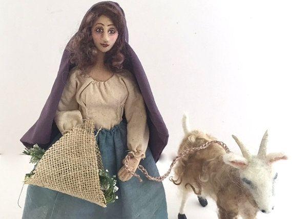 Connemara Girl cloth art doll needle felt goat Irish soft sculpture unique gift
