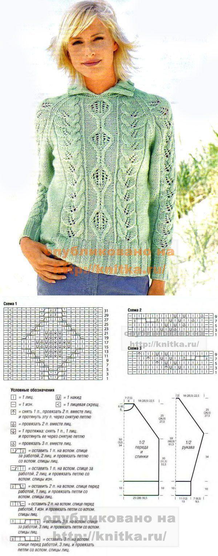 Узорчатый пуловер реглан Вязание для женщин. Вязание спицами knitka.ru | вязание | Постила