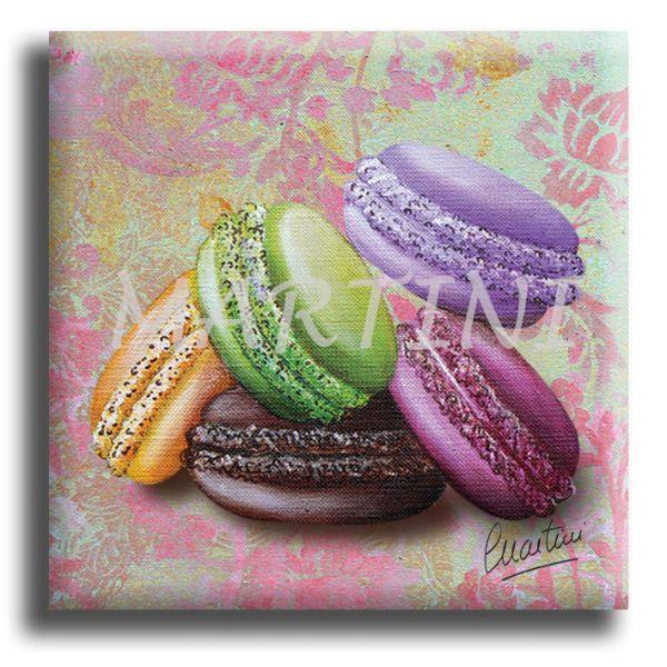 Magnet, aimant carré 5 macarons sur un fond damassé couleur rose et vert à 3€