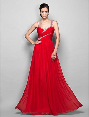 vestito da sera guaina / colonna cinghie piano di lunghezza chiffon / prom - EUR € 77.36