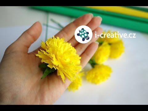Návod na pampelišky z krepového papíru | i-creative.cz - Kreativní online magazín a omalovánky k vytisknutí