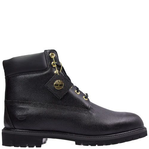 """6"""" Classic Horween football boot by Timberland. Timberland's Limited Releases are totally unique, and never around for long! Available at Rosenberg Shoes in black and sizes AU 12-15."""