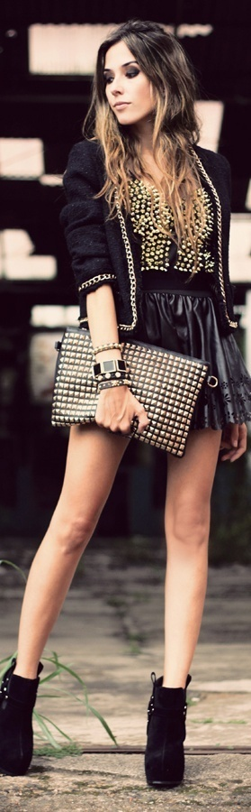 Party outfit.. Black ankle boots black leather skirt black clutch with gold studs black top ...