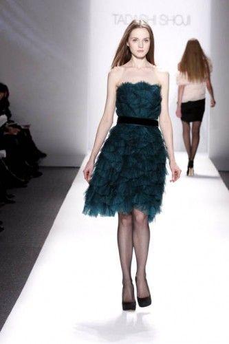 #tadashishoji #short #dress #frill #tulle #bottle-green
