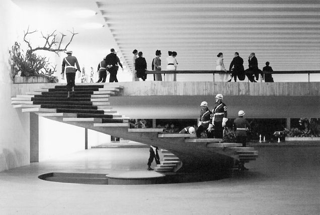 "Best of the Brazilians- ""Interior view of Oscar Niemeyer's Itamaraty Palace in Brasilia, shown here during the occasion  of the first visit of queen Elizabeth II to the recently inaugurated capital.  For me this is the mother-of-all-stairs (at least for a large lobby)."""