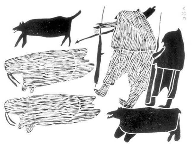 Walrus hunters by the sea