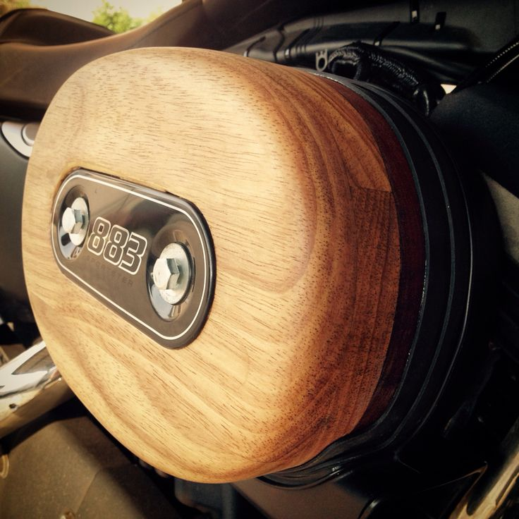 Harley Davidson 883 Iron XL. air filter cover in Rubberwood and Burmese Teak and other exotic hardwoods. Price on request byronloker@gmail.com. Motorcycle accessories. Motorbikes. Bikes.
