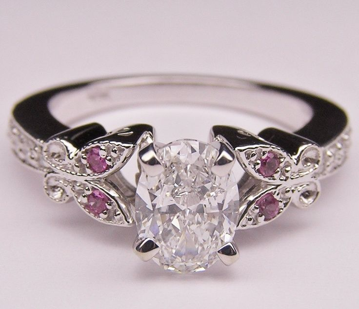 Oro blanco Diamante Oval de la mariposa de compromiso Ojos Rosa Anillo En 14K - Darling Cosas